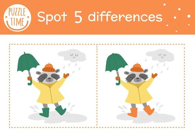 Осенняя игра «найди отличия» для детей. осенний сезон образовательная деятельность с енотом с зонтиком под дождем. лист для печати с забавным улыбающимся животным. симпатичная лесная сцена