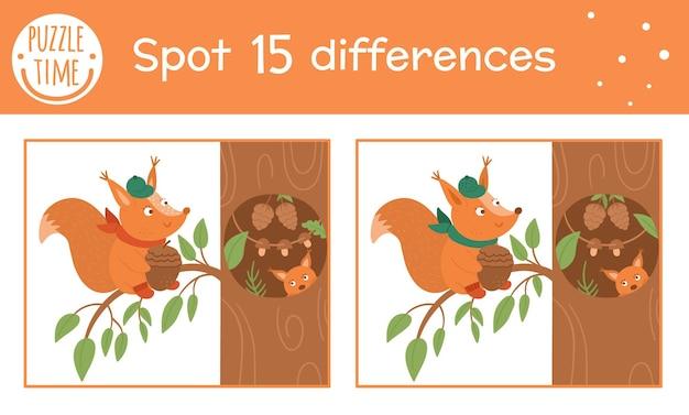 가을 어린이를 위한 차이점 찾기 게임. 다람쥐가 나무 움푹 들어간 곳 근처에 앉아 있는 가을 시즌 교육 활동. 재미있는 웃는 동물이 있는 인쇄용 워크시트. 귀여운 숲 장면