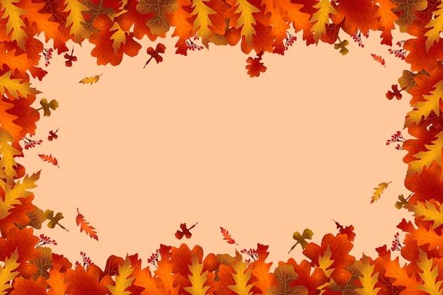 葉と秋のフラットなデザインの背景