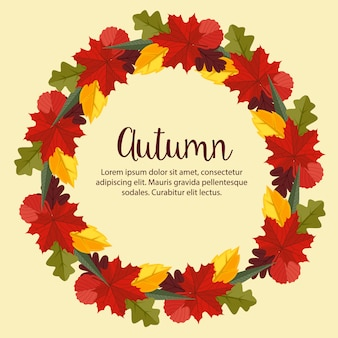 Autumn flat style nature leaves wreath background