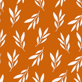 Autumn flat vector seamless pattern. beige leaf shapes on orange background. harvest season decoration. floral design, fall print. wallpaper design, wrapping paper, textile drawing.