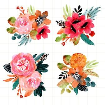 Autumn floral arrangement watercolor