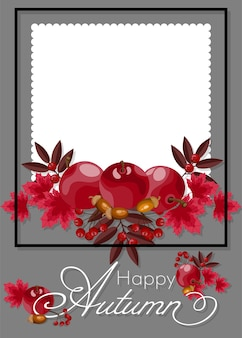 Autumn floral background with happy autumn text.