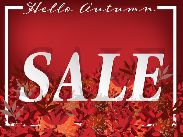 Autumn floral backgroung with hello autumn sale text.