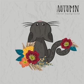Autumn floral black cat composition.