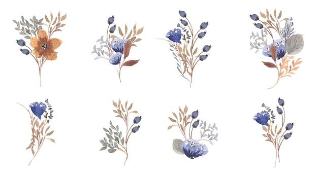 秋の花の花束の水彩画コレクション