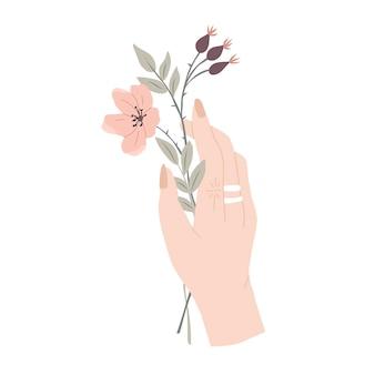 秋の花の構成手と秋の花の花束ローズヒップベクトルイラスト