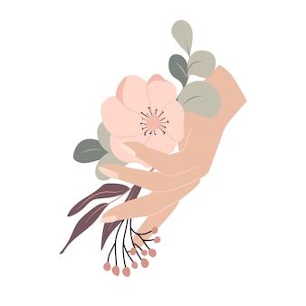 秋の花の構成秋の花の花束と手ベクトル図