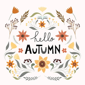 Autumn floral composition poster banner with seasonal elements sunflower mushroom pumpkin plan