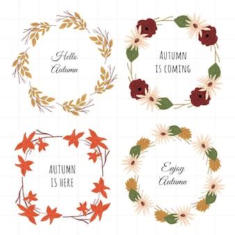 Autumn floral frame set 4 in 1