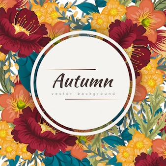 Autumn floral frame with colorful flower.