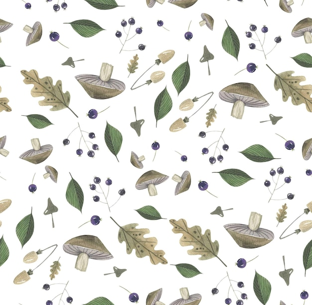 Autumn floral herbal  pattern hand drawn in watercolor