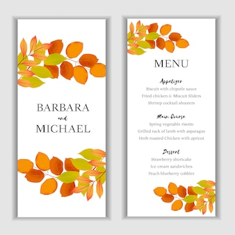 Autumn floral menu card template