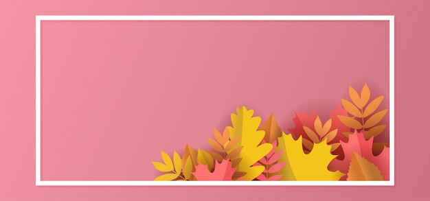 Autumn floral paper cut background with leaves and frame pastel colors