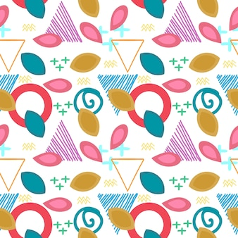 Autumn floral pattern with memphis geometric abstract