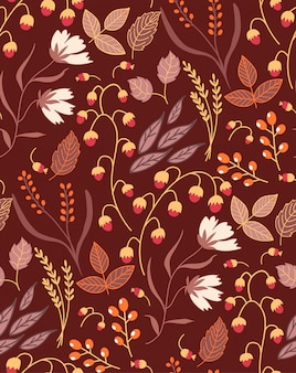 Autumn floral seamless pattern fall autumn leaves. nature symbol  collection.