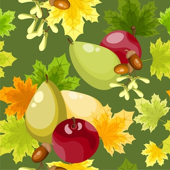 Autumn floral seamless pattern.