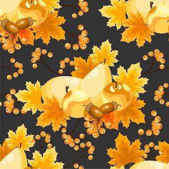 Autumn floral seamless pattern.