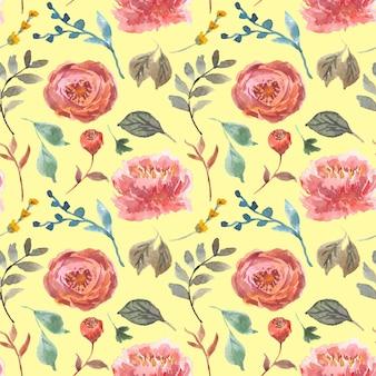 秋の花の水彩画のサンプルパターン