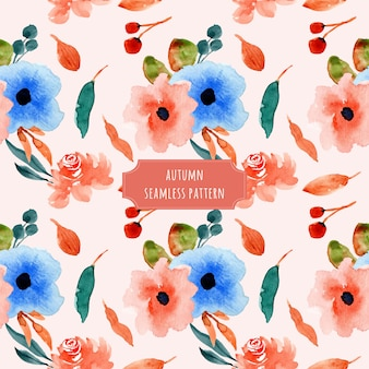 Autumn floral watercolor seamless pattern