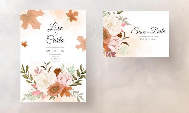 장미와 소나무 꽃 가을 꽃 결혼식 초대 카드