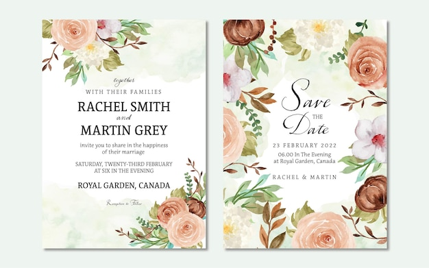 Осенние цветочные свадебные приглашения с акварельным фоном пятен