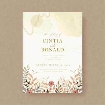 Autumn florals watercolor painting on wedding invitation backgroun