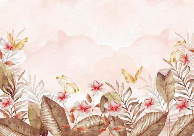 나비 수채화 그림 배경으로 가을 꽃