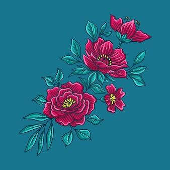 Autumn flower on blue