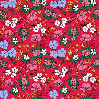 秋の花赤い背景のシームレスなベクトルパターン