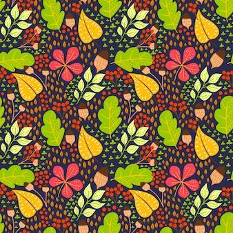 秋の花のシームレスなパターンベクトルの背景