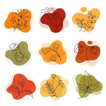 Осенние цветы и листья, желуди в линейном стиле каракули на желтых пятнах изолированы