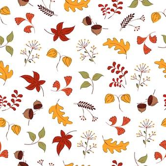 Осенние цветы и листья рисованной стиль бесшовные модели