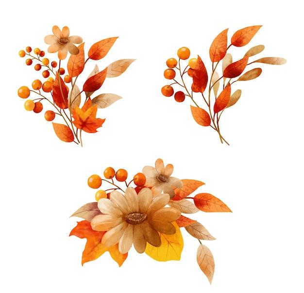 Autumn flowers bouquet in a watercolor style. floral and leaves bouquets arrangements.