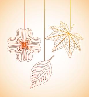 Autumn flowers design over orange  background