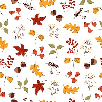 Autumn flowers and leaves hand drawn style seamless pattern