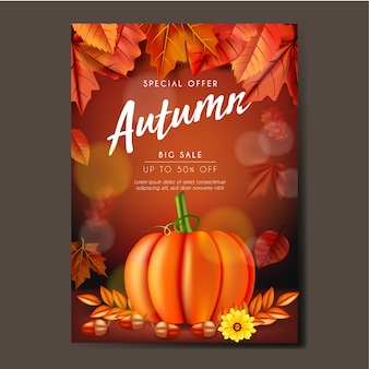 Autumn flyer or banner template design with leaves, pumpkin