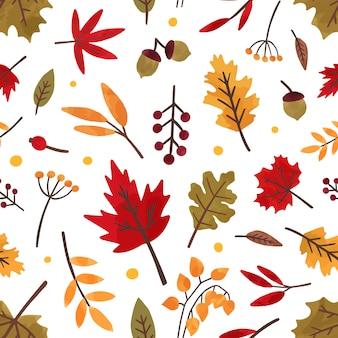 紅葉の手描きの背景のシームレスなパターン。別の木の葉と果実の装飾的な質感。秋のシーズンの葉、森の植物のフラットのイラスト。花織物、壁紙デザイン。