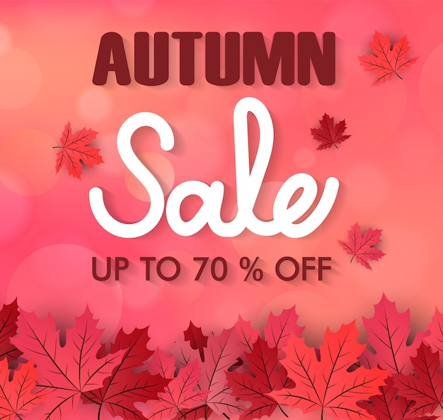 Autumn foliage vector sale banner, maple leaf background
