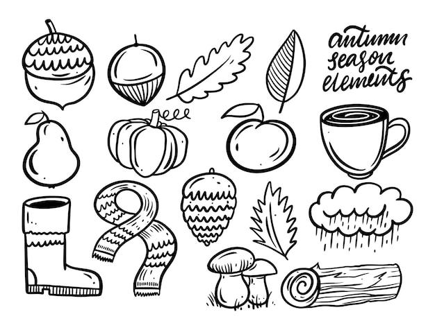 Осенняя еда и элементы набор объектов сезонов черного цвета