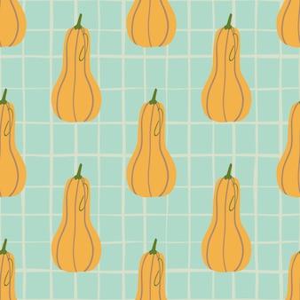秋の食べ物かぼちゃ落書きシームレスパターン。チェックと明るいオレンジ色の野菜の要素を持つ青色の背景色。
