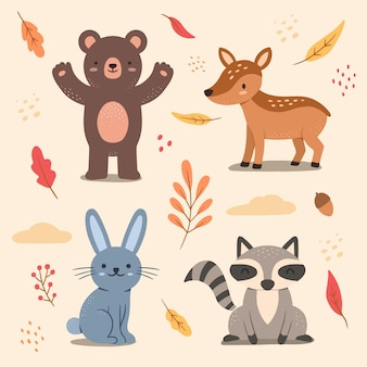 Autumn forest animal set