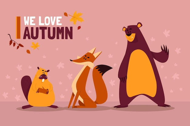 Autumn forest animals collection