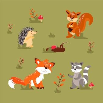 Коллекция осенних лесных животных