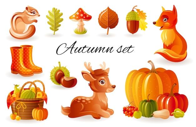 秋の森の動物。かわいい秋のセット、リス、キツネリス、子鹿と森のイラスト。