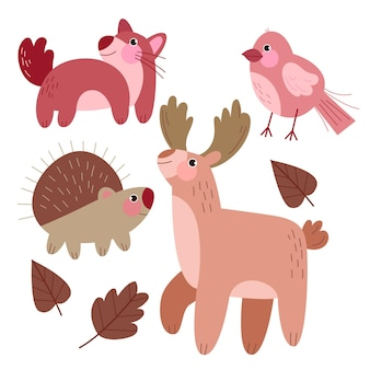 Autumn forest animals drawing concept