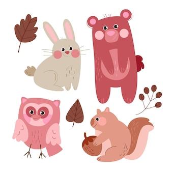Autumn forest animals drawing illustration