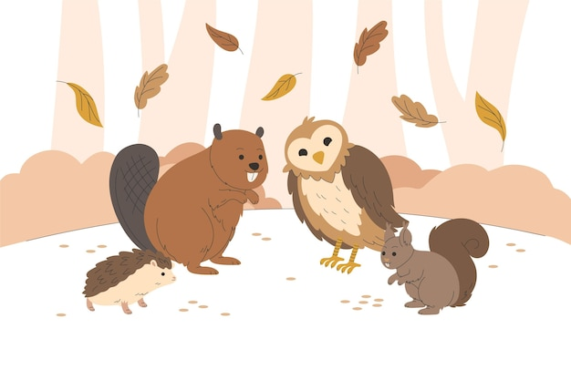 Autumn forest animals drawing
