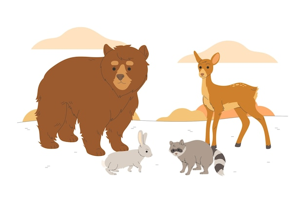Autumn forest animals drawn