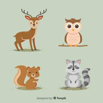 Autumn forest animals flat design
